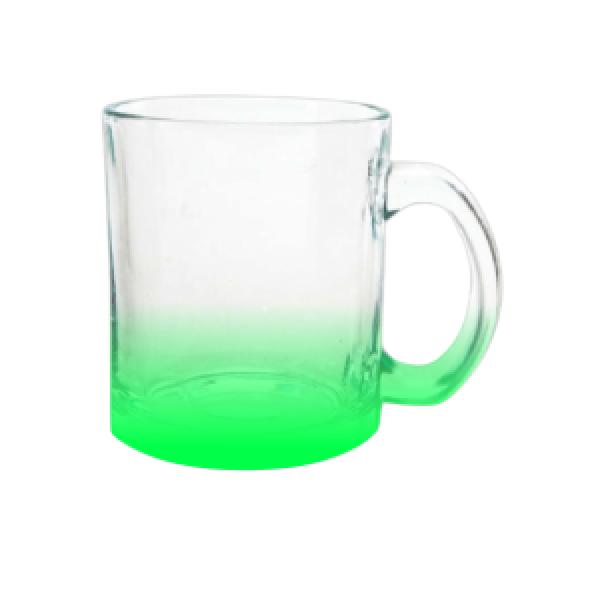 Caneca Chopp Vidro Degradê Verde Cristal  320ML - Sublime
