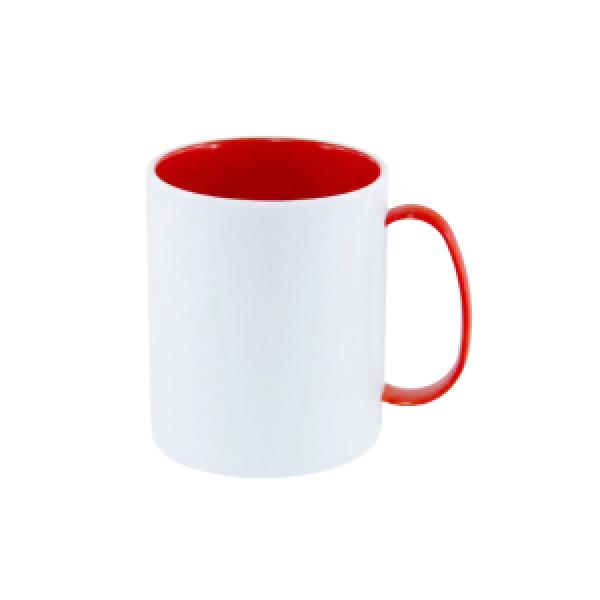 Caneca Polímero Color Interno e Alça Vermelha 325ML